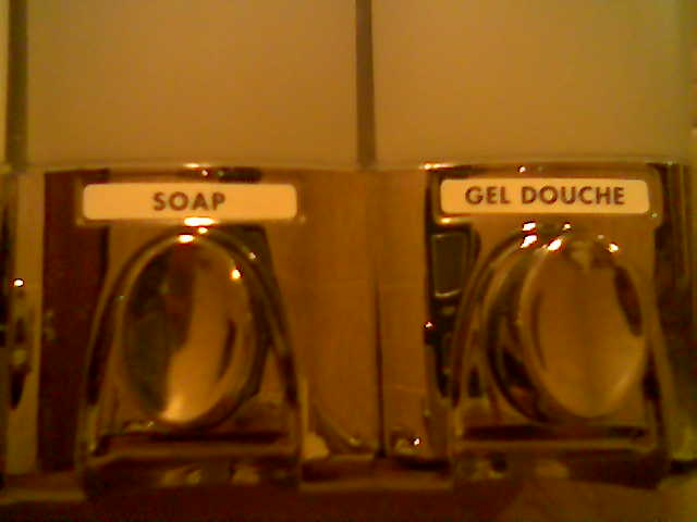 dispensers for soap and 'gel douche'