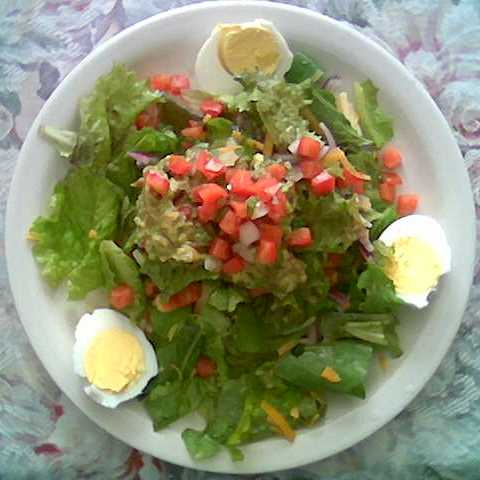 a fresh salad with green leaf lettuce, carrots, guacamole, pico de gallo, and hard boiled eggs